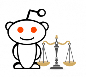 Reddit Alien Next to Scales of Justice // Icon for Pros of Free SSDI Legal Advice