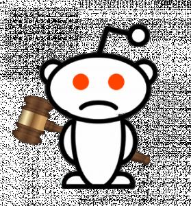 Reddit Alien Holding Gavel Behind Back // Icon // Cons of Reddit SSDI